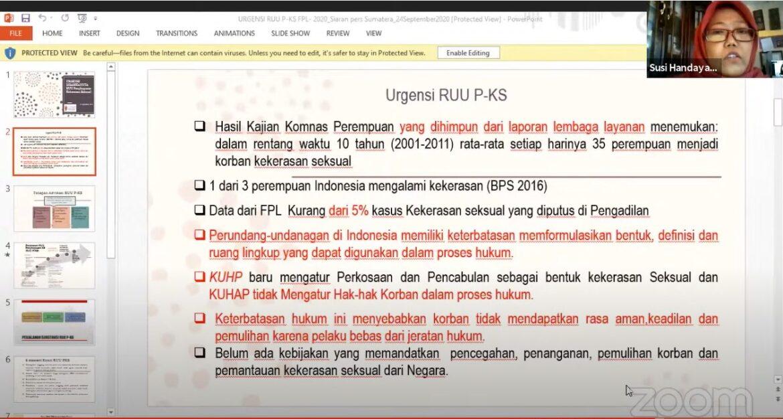 Sumatera Darurat Kekerasan Seksual RUU PKS harus Masuk Prolegnas 2021