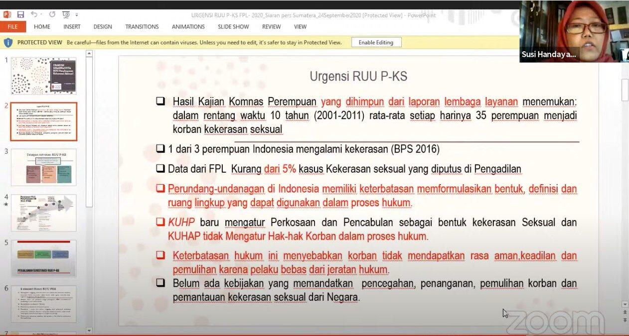Medanokecom - Darurat Kekerasan Seksual RUU PKS Harus Segera Disahkan